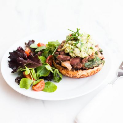 Bean-Stuffed Portobello Mushrooms With Avocado Mash Recipe / @spotebi