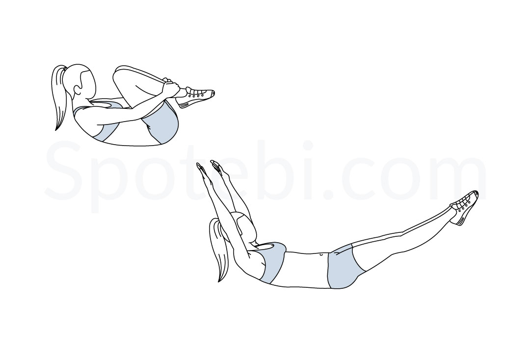 Double leg stretch exercise guide with instructions, demonstration, calories burned and muscles worked. Learn proper form, discover all health benefits and choose a workout. https://www.spotebi.com/exercise-guide/double-leg-stretch/