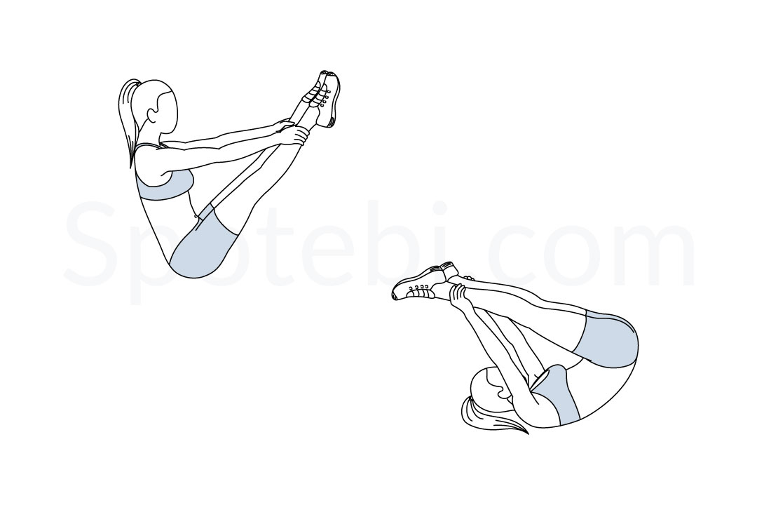 Open leg rocker exercise guide with instructions, demonstration, calories burned and muscles worked. Learn proper form, discover all health benefits and choose a workout. https://www.spotebi.com/exercise-guide/open-leg-rocker/