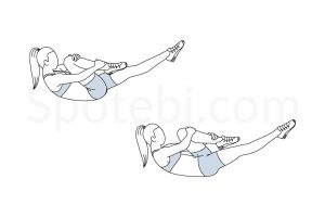 Single leg stretch exercise guide with instructions, demonstration, calories burned and muscles worked. Learn proper form, discover all health benefits and choose a workout. https://www.spotebi.com/exercise-guide/single-leg-stretch/