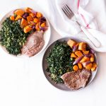 Grilled Steak & Roasted Veggies with Sautéed Garlic Kale