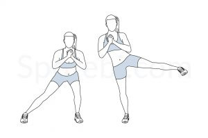 Side lunge to leg lift exercise guide with instructions, demonstration, calories burned and muscles worked. Learn proper form, discover all health benefits and choose a workout. https://www.spotebi.com/exercise-guide/side-lunge-to-leg-lift/