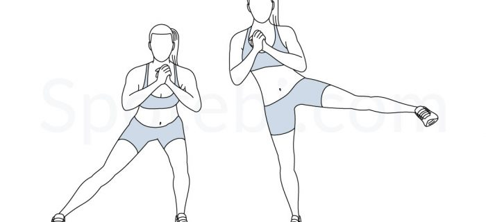 Side Lunge To Leg Lift | Illustrated Exercise Guide