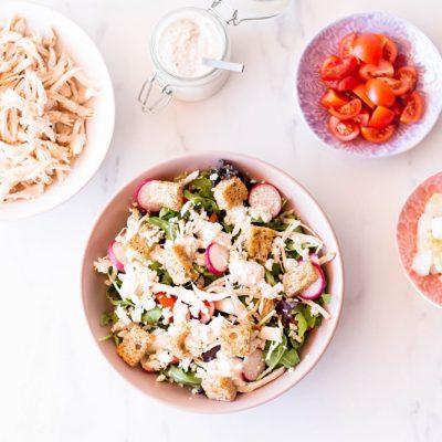 Chicken Caesar Salad with Homemade Croutons Recipe / @spotebi