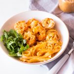 Garlic, Lemon & Tomatoes Shrimp Fettuccine Recipe