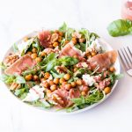 Prosciutto, Mozzarella & Spicy Chickpea Salad with Strawberry Vinaigrette