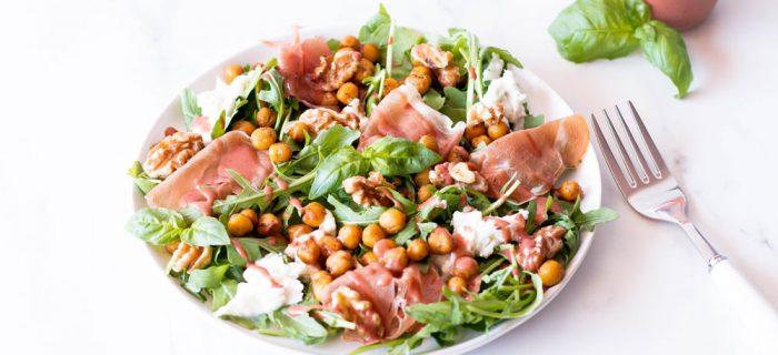 Prosciutto, Mozzarella & Spicy Chickpea Salad with Strawberry Vinaigrette
