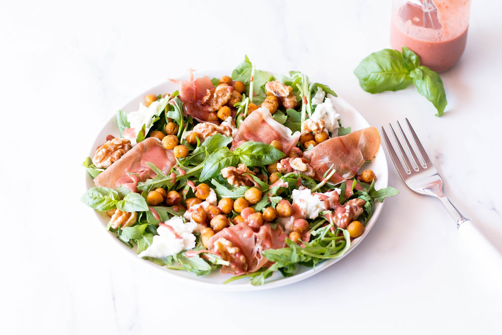 Healthy eating is not about strict dietary limitations, unrealistic goals, or depriving yourself of the foods you love. Rather, it's about improving your health, feeling great, having more energy, boosting your mood and this prosciutto, mozzarella and spicy chickpea salad with strawberry vinaigrette is the perfect example of that! https://www.spotebi.com/recipes/prosciutto-mozzarella-spicy-chickpea-salad-strawberry-vinaigrette/