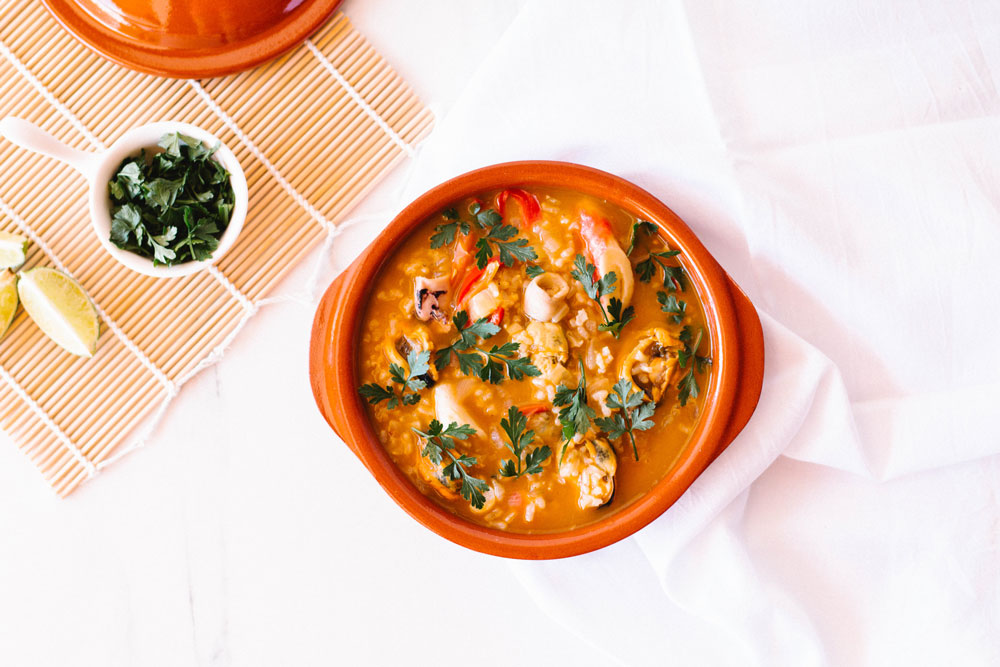 This one-pot Spanish seafood rice is a high-protein dish, rich in B vitamins and iron and, because most of the seafood used in this recipe feeds on algae, it's also a great source of iodine and tyrosine, which support thyroid function, protective antioxidants and a variety of different vitamins and minerals. https://www.spotebi.com/recipes/one-pot-spanish-seafood-rice/