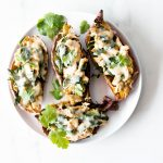 Cheesy Turkey Stuffed Sweet Potato Skins