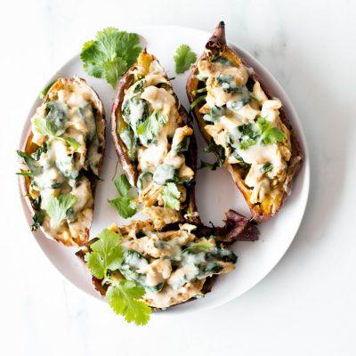 Mexican Turkey Stuffed Sweet Potato Skins Recipe / @spotebi