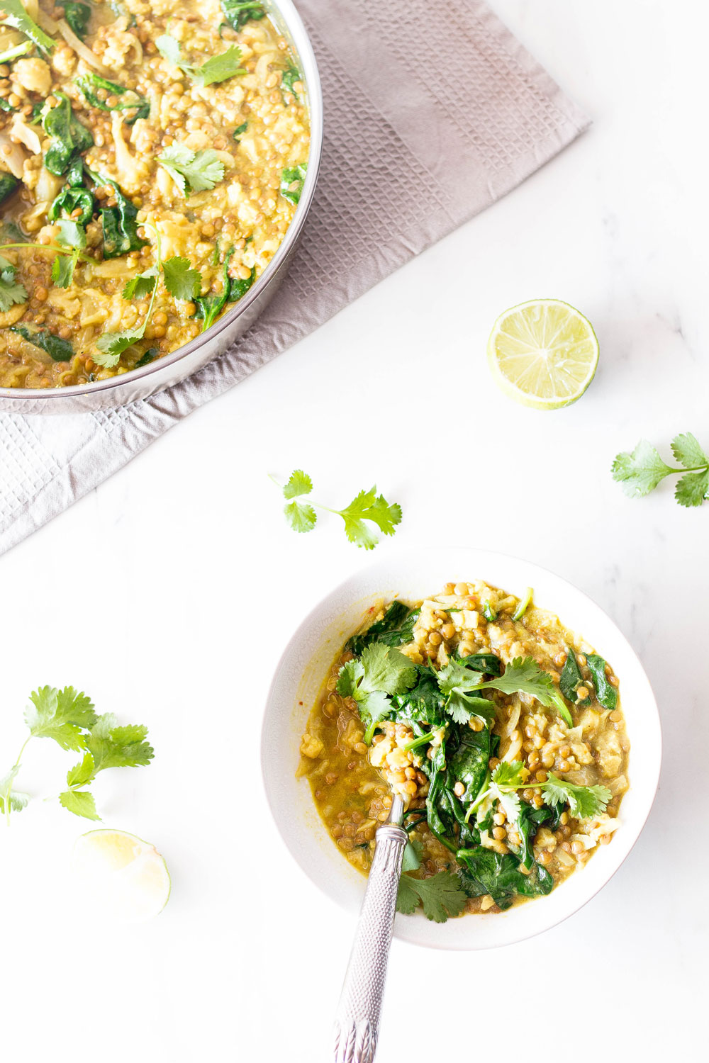 Delicious, vegan, cheap and healthy – this cauliflower and lentil dal with easy curry paste is a comfort food classic that will warm you up on a winter's night. Each serving provides 524 kcal, 20 g protein, 55 g carbohydrates, and 30 g fat and is full of amazing nutrients, phytonutrients and flavor. https://www.spotebi.com/recipes/cauliflower-lentil-dal-easy-curry-paste/