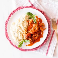 Garlic Shrimp in Tomato Sauce with Cauliflower Mash Recipe / @spotebi