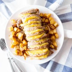Pork Loin with Caramelized Pineapple and Baked Potatoes Recipe / @spotebi