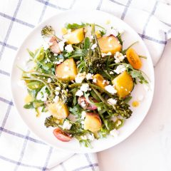 Sweet Potato Salad with Broccolini, Arugula & Feta Cheese Recipe / @spotebi