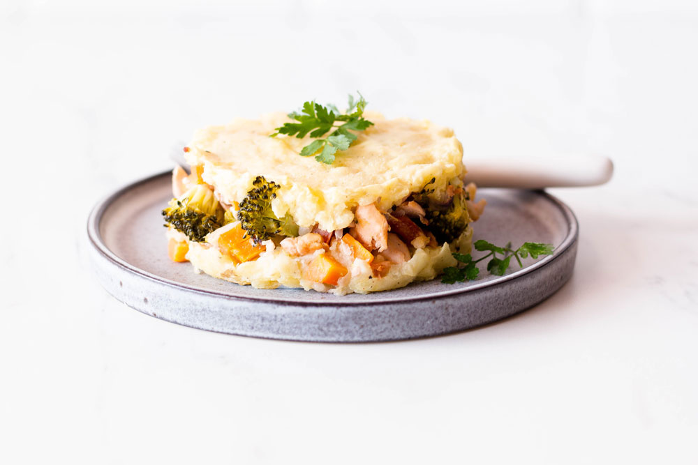 This Wild Salmon and Vegetables Pie is an easy yet filling way to add this healthy fish into your diet. You can make this pie with your favorite vegetables or adapt the recipe to whatever vegetables are in season. And if you don't like salmon, you can replace it with other healthy fish species, such as tuna, cod, rainbow trout, Pacific halibut or mackerel. https://www.spotebi.com/recipes/wild-salmon-vegetables-pie/