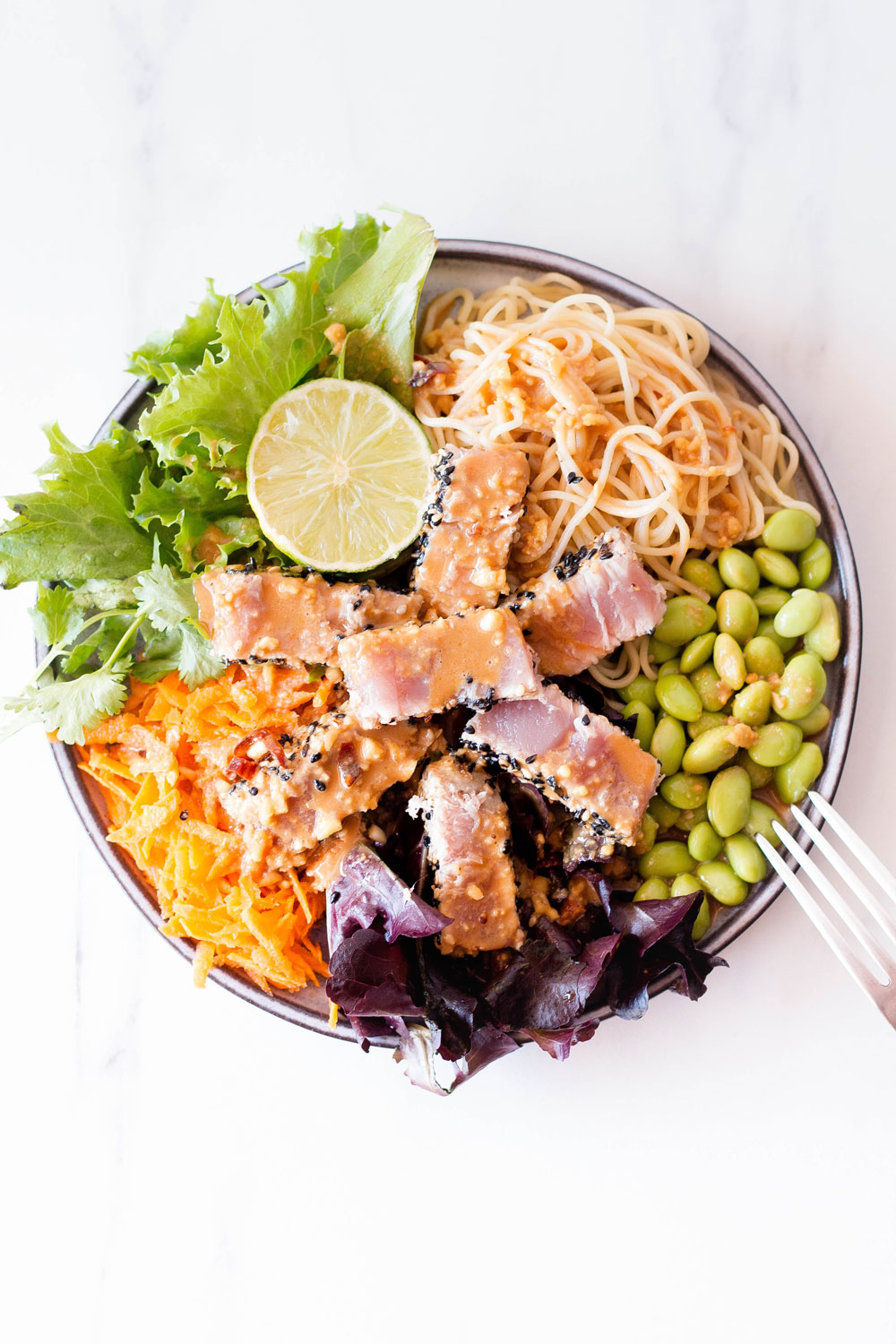 Whether you're searching for a weeknight dinner or if you're tired of the same old canned tuna recipes, this Fresh Tuna Salad With Homemade Peanut Dressing has you covered. High-quality fresh tuna is a delicious source of healthy omega-3 fatty acids, protein, and requires almost no effort in the kitchen. https://www.spotebi.com/recipes/fresh-tuna-salad-homemade-peanut-dressing/