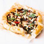 Mushroom, Spinach & Crumbled Feta Pie