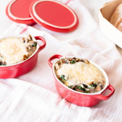 Baked Eggs with Mushrooms, Spinach & Parmesan Cheese Recipe / @spotebi