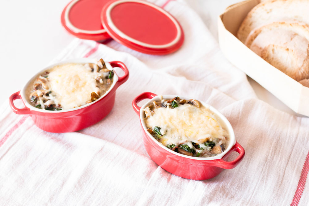 Set yourself up for the day with this easy recipe of Baked Eggs with Mushrooms, Spinach & Parmesan Cheese. Each serving is loaded with healthy vitamins, minerals, protein, and has only 161 calories! https://www.spotebi.com/recipes/baked-eggs-mushrooms-spinach-parmesan-cheese/