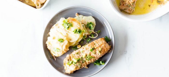 Lemon-Parsley Baked Fish With Scalloped Potatoes