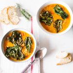 Lentil & Tomato Soup with Kale Chips