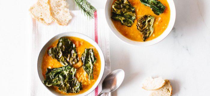 Lentil & Tomato Soup with Kale Chips