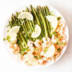 Sauteed Garlic Shrimp with Asparagus Recipe / @spotebi