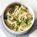 Vegan Creamy Fettuccine with Peas & Mushrooms