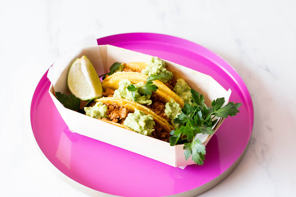 These easy Vegan Tempeh Tacos with Avocado Dip are made with grated tempeh, flavourful spices, and homemade avocado dip. Done in under 20 minutes but with amazing flavor and packed with plant-based protein, this dish is the perfect quick and healthy taco Tuesday dinner. https://www.spotebi.com/recipes/vegan-tempeh-tacos-avocado-dip/