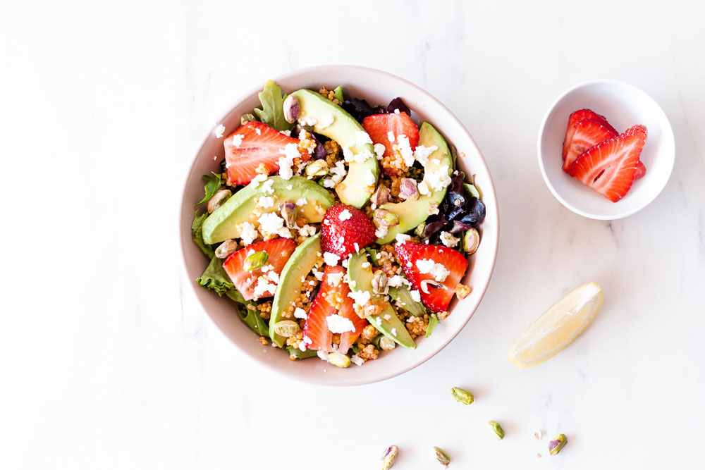 Top off this Strawberry, Avocado & Feta Summer Salad with your favorite salad dressing or with our honey mustard vinaigrette, a classic recipe that everyone enjoys, and that brings out the best flavors in your salads. https://www.spotebi.com/recipes/strawberry-avocado-feta-summer-salad/