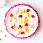 Peach & Pistachio Fruit Salad with Raspberry Mascarpone